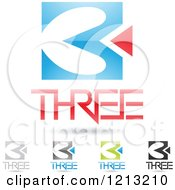 Clipart Of Abstract Number 3 Icons With Three Text Under The Digit 2 Royalty Free Vector Illustration