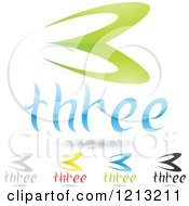 Clipart Of Abstract Number 3 Icons With Three Text Under The Digit Royalty Free Vector Illustration