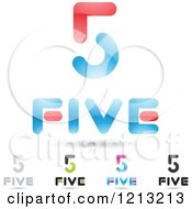 Clipart Of Abstract Number 5 Icons With Five Text Under The Digit 5 Royalty Free Vector Illustration