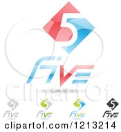 Clipart Of Abstract Number 5 Icons With Five Text Under The Digit 7 Royalty Free Vector Illustration
