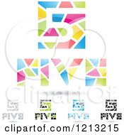 Clipart Of Abstract Number 5 Icons With Five Text Under The Digit 8 Royalty Free Vector Illustration