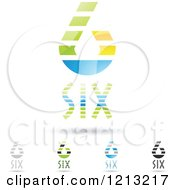 Clipart Of Abstract Number 6 Icons With Six Text Under The Digit 2 Royalty Free Vector Illustration