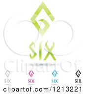 Clipart Of Abstract Number 6 Icons With Six Text Under The Digit 6 Royalty Free Vector Illustration