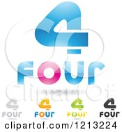Clipart Of Abstract Number 4 Icons With Four Text Under The Digit Royalty Free Vector Illustration