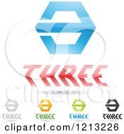 Clipart Of Abstract Number 3 Icons With Three Text Under The Digit 7 Royalty Free Vector Illustration