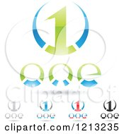 Abstract Number 1 Icons With Text Under The Digit 9