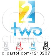 Abstract Number 2 Icons With Two Text Under The Digit 8