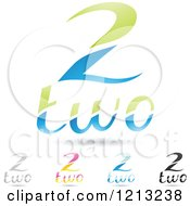 Abstract Number 2 Icons With Two Text Under The Digit 7
