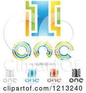 Abstract Number 1 Icons With Text Under The Digit 6