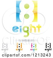 Abstract Number 8 Icons With Eight Text Under The Digit