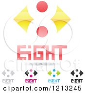 Abstract Number 8 Icons With Eight Text Under The Digit 3