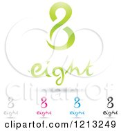 Abstract Number 8 Icons With Eight Text Under The Digit 7