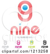 Abstract Number 9 Icons With Nine Text Under The Digit 8