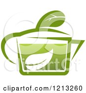 Clipart Of A Pot Of Green Tea With Leaves 13 Royalty Free Vector Illustration