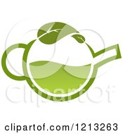 Clipart Of A Pot Of Green Tea With Leaves 14 Royalty Free Vector Illustration