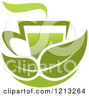 Cup Of Green Tea Or Coffee And Two Leaves
