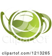 Clipart Of A Pot Of Green Tea With Leaves 12 Royalty Free Vector Illustration