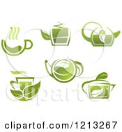 Clipart Of Green Tea Pots And Cups With Leaves 3 Royalty Free Vector Illustration