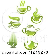 Clipart Of Green Tea Pots And Cups With Leaves 4 Royalty Free Vector Illustration