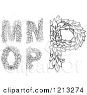 Clipart Of Black And White Floral Leafy Letters M N O And P Royalty Free Vector Illustration
