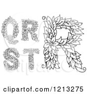Clipart Of Black And White Leafy Floral Letters Q R S And T Royalty Free Vector Illustration
