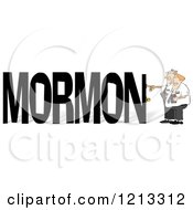 Cartoon Of Mormon Missionaries Knocking On A Door To The Word MORMON Royalty Free Clipart