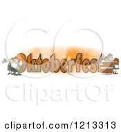 Cartoon Of German Men And Women With Beer Around The Word OKTOBERFEST Royalty Free Clipart