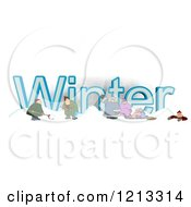 Cartoon Of A Family And Men Shoveling Snow By The Word WINTER Royalty Free Clipart