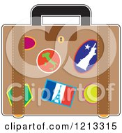 Cartoon Of A Suitcase With France Italy And Usa Travel Stickers Royalty Free Vector Clipart