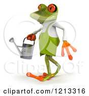 Clipart Of A 3d Springer Frog Gardener Walking With A Watering Can Royalty Free CGI Illustration