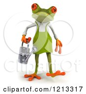 Clipart Of A 3d Springer Frog Gardener Walking Forward With A Watering Can Royalty Free CGI Illustration
