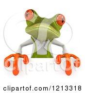 Clipart Of A 3d Springer Frog Gardener Over A Sign Royalty Free CGI Illustration