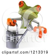Clipart Of A 3d Springer Frog Gardener Holding A Watering Can Over A Sign Royalty Free CGI Illustration