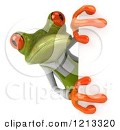 Clipart Of A 3d Springer Frog Gardener Looking Around A Sign Royalty Free CGI Illustration