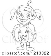 Outlined Cute Halloween Girl Wearing A Jackolantern Pumpkin Costume