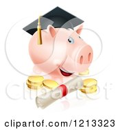 Graduate Piggy Bank With A Certificate And Gold Coins
