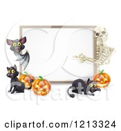Cartoon Of A Skeleton And Bat Pointing To A Halloween Sign With Black Cats And Pumpkins Royalty Free Vector Clipart by AtStockIllustration