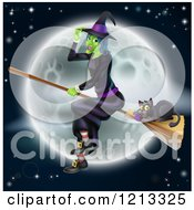 Cartoon Of A Green Halloween Witch Flying With A Cat On A Broomstick Over A Full Moon Royalty Free Vector Clipart