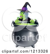 Cartoon Of A Witch Smiling Over A Boiling Cauldron Royalty Free Vector Clipart by AtStockIllustration