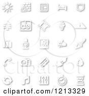 Clipart Of White Minimalist Icons With Shadows Royalty Free Vector Illustration