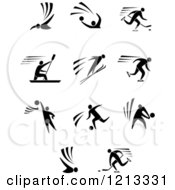 Clipart Of Black And White Men Engaged In Sports Royalty Free Vector Illustration