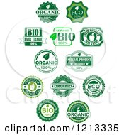 Clipart Of Green Organic And Natural Quality Labels Royalty Free Vector Illustration