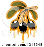 Clipart Of Black Olives With Leaves And Dripping Oil 3 Royalty Free Vector Illustration