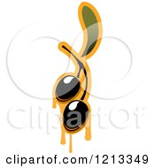 Clipart Of Black Olives With Leaves And Dripping Oil 2 Royalty Free Vector Illustration