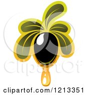 Clipart Of A Black Olive With Leaves And Oil Doplet Royalty Free Vector Illustration