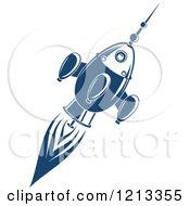 Retro Blue Space Rocket 6