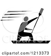Clipart Of A Black And White Man Paddle Boarding Royalty Free Vector Illustration by Vector Tradition SM