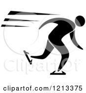 Clipart Of A Black And White Ice Skater Royalty Free Vector Illustration