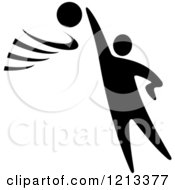 Clipart Of A Black And White Basketball Player Royalty Free Vector Illustration