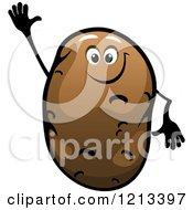 Clipart Of A Waving Potato Mascot Royalty Free Vector Illustration